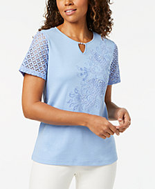 Alfred Dunner Petite Embellished Lace-Contrast Top
