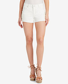 Jessica Simpson Cherish Crochet-Trim Denim Shorts
