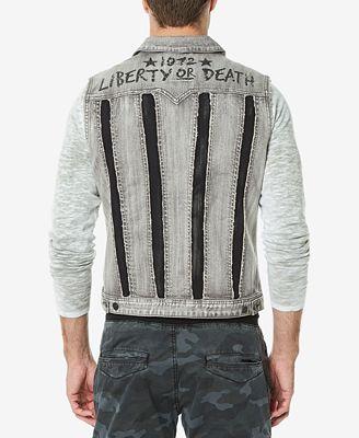 Buffalo David Bitton Men S Two Tone Denim Vest Coats Jackets