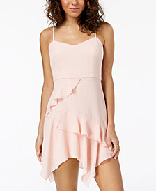 B Darlin Juniors' Chiffon Ruffle Slip Dress