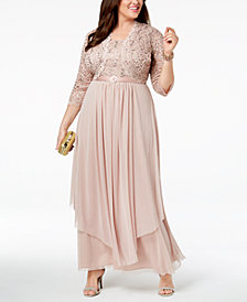 R & M Richards Plus Size Sequined Lace Belted Gown and Jacket