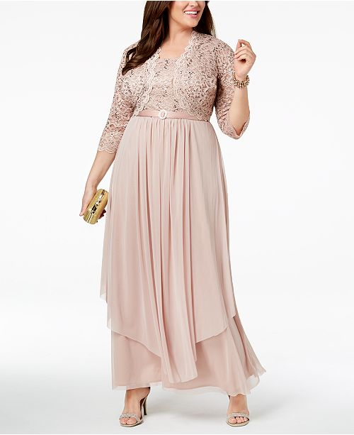 ff47b457e72 ... R   M Richards Plus Size Sequined Lace Belted Gown and Jacket ...