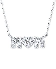 "Diamond Accent Mom 17"" Pendant Necklace in Sterling Silver"