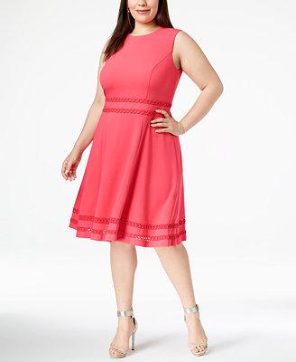 Plus Size Mesh Trim Dress by Calvin Klein
