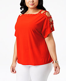 Belldini Plus Size Laced-Shoulder Top
