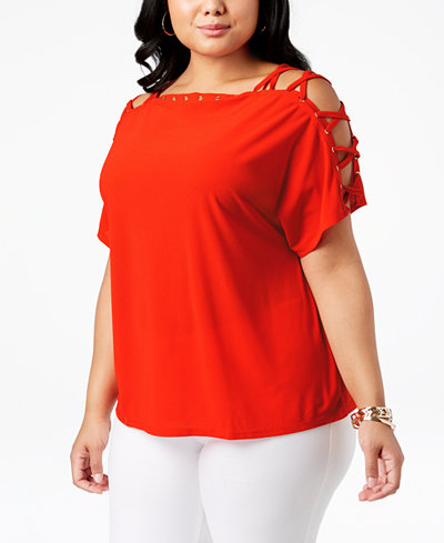 Belldini Plus Size Laced-Shoulder Top