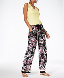I.N.C. V-Neck Tank Top & Printed Wide-Leg Pants, Created for Macy's
