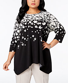 Calvin Klein Plus Size Printed Asymmetrical-Hem Top