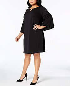 Calvin Klein Plus Size Lantern-Sleeve Shift Dress