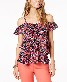 MICHAEL Michael Kors Ruffled Cold-Shoulder Top, Created for Macy's