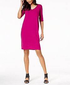 Eileen Fisher Stretch Jersey V-Neck Shift Dress, Regular & Petite