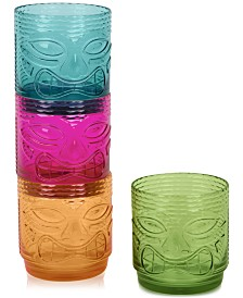 TarHong Tiki Plastic Double Old-Fashioned Glasses, Set of 4