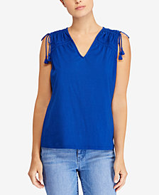 Lauren Ralph Lauren Petite Ruched Cotton Top