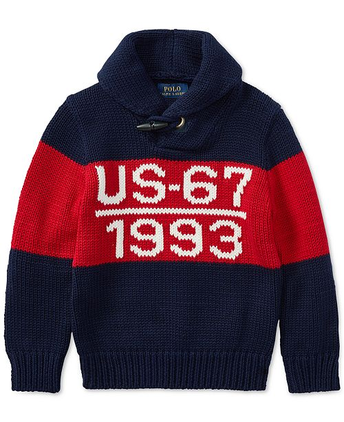 d552dd60541c ... Polo Ralph Lauren Toddler Boys CP-93 Shawl-Collar Cotton Sweater ...