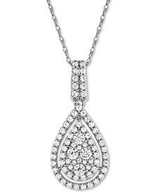 "Diamond Pavé Teardrop 18"" Pendant Necklace (1 ct. t.w.) in 14k White Gold"