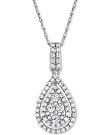 "Diamond Pavé Teardrop 18"" Pendant Necklace (1 ct. t.w.) in 14k White Gold"