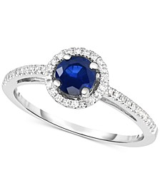 Sapphire (5/8 ct. t.w.) & Diamond (1/6 ct. t.w.) in 14k White Gold