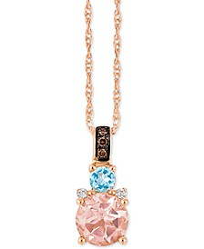 "Chocolatier® Multi-Gemstone (2/3 c.t. t.w.) and Diamond Accent 18"" Pendant Necklace in 14k Rose Gold"
