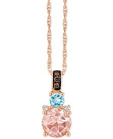 "Chocolatier® Multi-Gemstone (2/3 c.t. t.w.) and Diamond Accent 18"" Pendant Necklace in 14k Rose Gold"