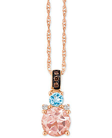 "Le Vian Chocolatier® Multi-Gemstone (2/3 c.t. t.w.) and Diamond Accent 18"" Pendant Necklace in 14k Rose Gold"