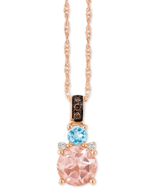 "Chocolatier Multi-Gemstone (2/3 c.t. t.w.) and Diamond Accent 18"" Pendant Necklace in 14k Rose Gold"