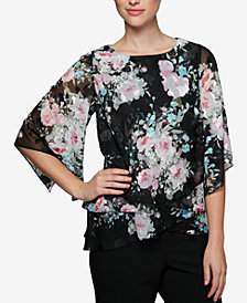 Alex Evenings Floral-Print Tiered Top