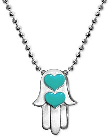 "Alex Woo Enamel Heart Hamsa Hand 16"" Pendant Necklace in Sterling Silver"