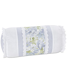 """Piper & Wright Flower Bed Blue 8"""" x 15"""" Neckroll Decorative Pillow"""