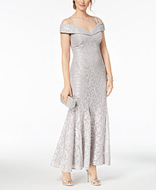 R & M Richards Off-The-Shoulder Lace Gown, Regular & Petite Sizes