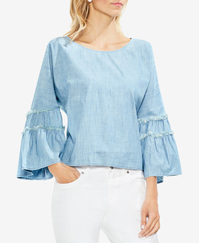 Vince Camuto Frayed Bell-Sleeve Top