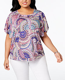 NY Collection Plus Size Printed Hardware Blouse