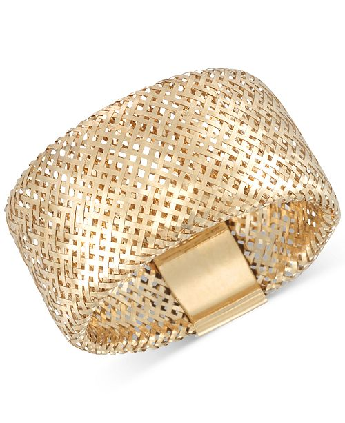 Italian Gold Openwork Mesh Stretch Ring in 14k Gold, Made in Italy
