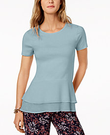 MICHAEL Michael Kors Double-Hem Peplum Top, Regular & Petite, Created for Macy's