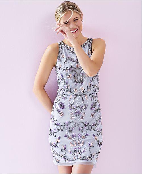 39760b6e37cd Adrianna Papell Sleeveless Beaded Blouson Dress & Reviews - Dresses ...