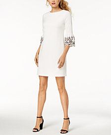 Tommy Hilfiger Embroidered Bell-Sleeve Sheath Dress