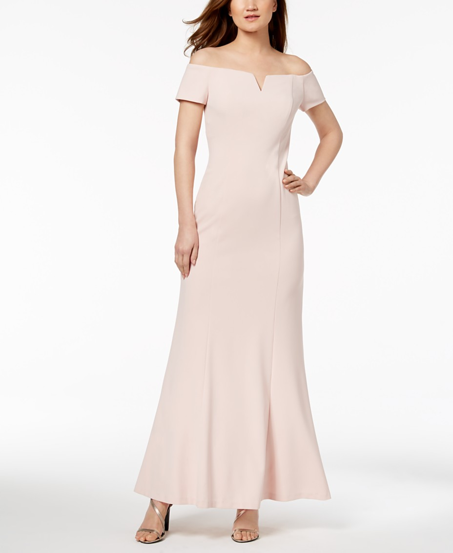 6860e7cb8 Calvin Klein Notched Off-The-Shoulder Gown