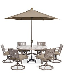 "Wayland Outdoor Aluminum 7-Pc. Dining Set (60"" Round Dining Table & 6 Swivel Chairs) with Sunbrella® Cushions, Created for Macy's"