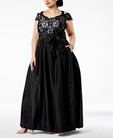 R & M Richards Plus Size Cold-Shoulder Glitter Lace & Satin Gown