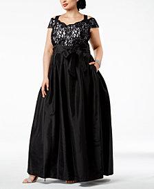 R & M Richards Plus Size Cold-Shoulder Glitter Lace & Satin Gown