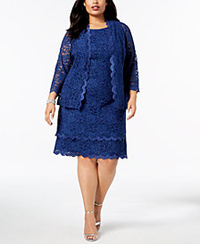 R & M Richards Plus Size Glitter Lace Sheath Dress & Jacket