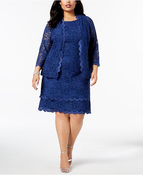 R amp; Sheath amp; M Richards Dress Lace Plus Jacket Size Indigo Glitter Hgx6Hrqw7