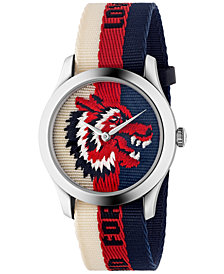 Gucci Unisex Swiss Le Marché des Merveilles Cream-Red-Blue Sylvie Web Nylon Strap Watch 38mm