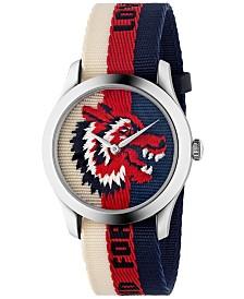 Gucci Unisex Swiss Le Marché des Merveilles Cream-Red-Blue Sylvie Web Nylon Strap Watch 38mm
