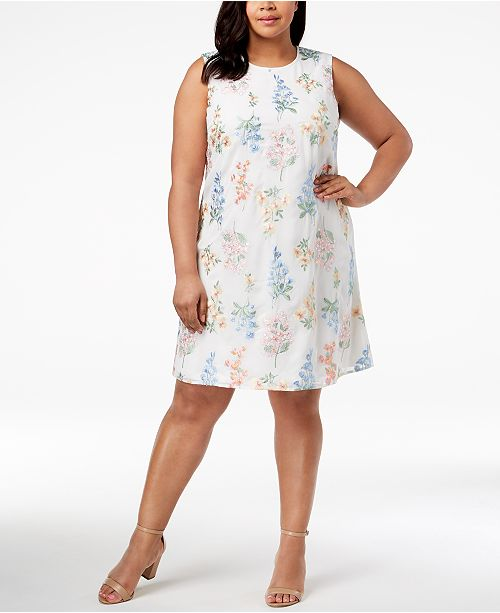 Calvin Klein Plus Size Embroidered Trapeze Dress & Reviews ...