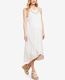 Jessica Simpson Sleeveless Crochet Maternity Midi Dress