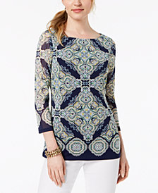 Charter Club Petite Printed Mesh Boat-Neck Top, Created for Macy's