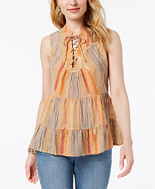 Style & Co Petite Lace-Up Neck Cotton Peasant Top, Created for Macy's