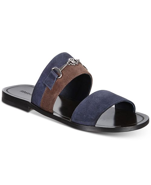 Roberto CavalliMen's Giamaica Suede Colorblock Sandals Men's Shoes kqTRq