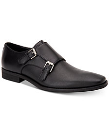 Calvin Klein Men's Robbie Brushed Leather Monk-Strap Loafers