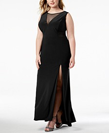 Trendy Plus Size Mesh-Inset Gown